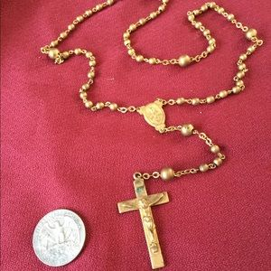 Jewelry - Golden tone rosary beads vintage cross